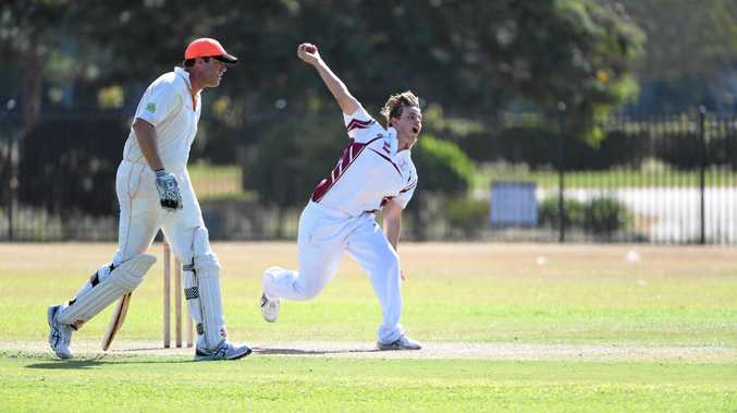 FORCE: Ryan Paul bowls for Norths in their division one match against Past Highs at Salter Oval.