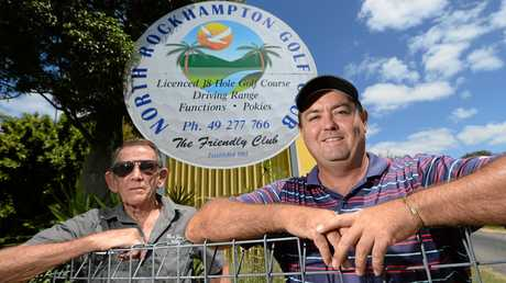 Club president Kevin Young and pro Andrew Humble at the newly renamed North Rockhampton Golf Club.