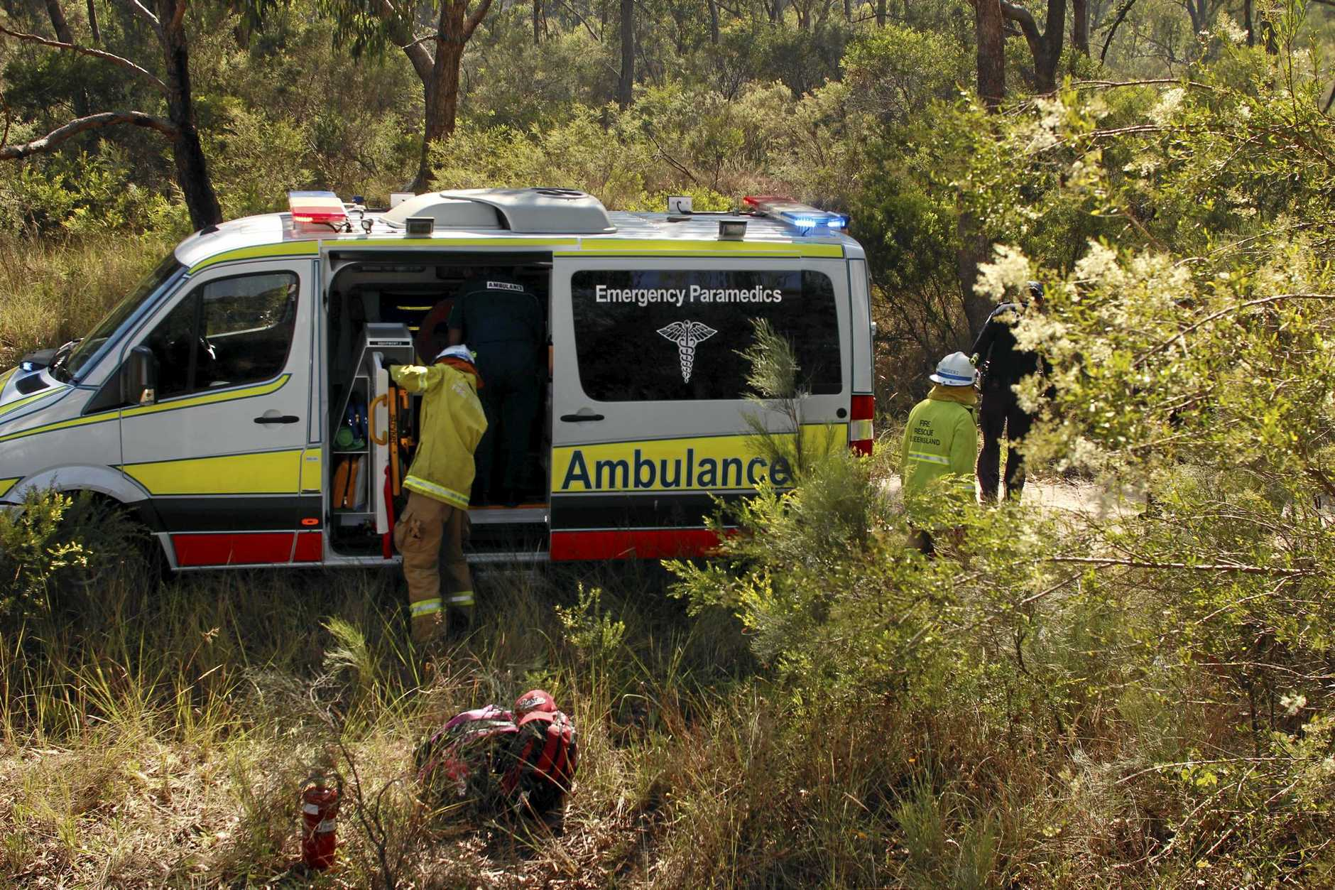 Two people were taken to Stanthorpe Hospital after a single-vehicle crash on Amiens Rd, Stanthorpe on Tuesday morning.