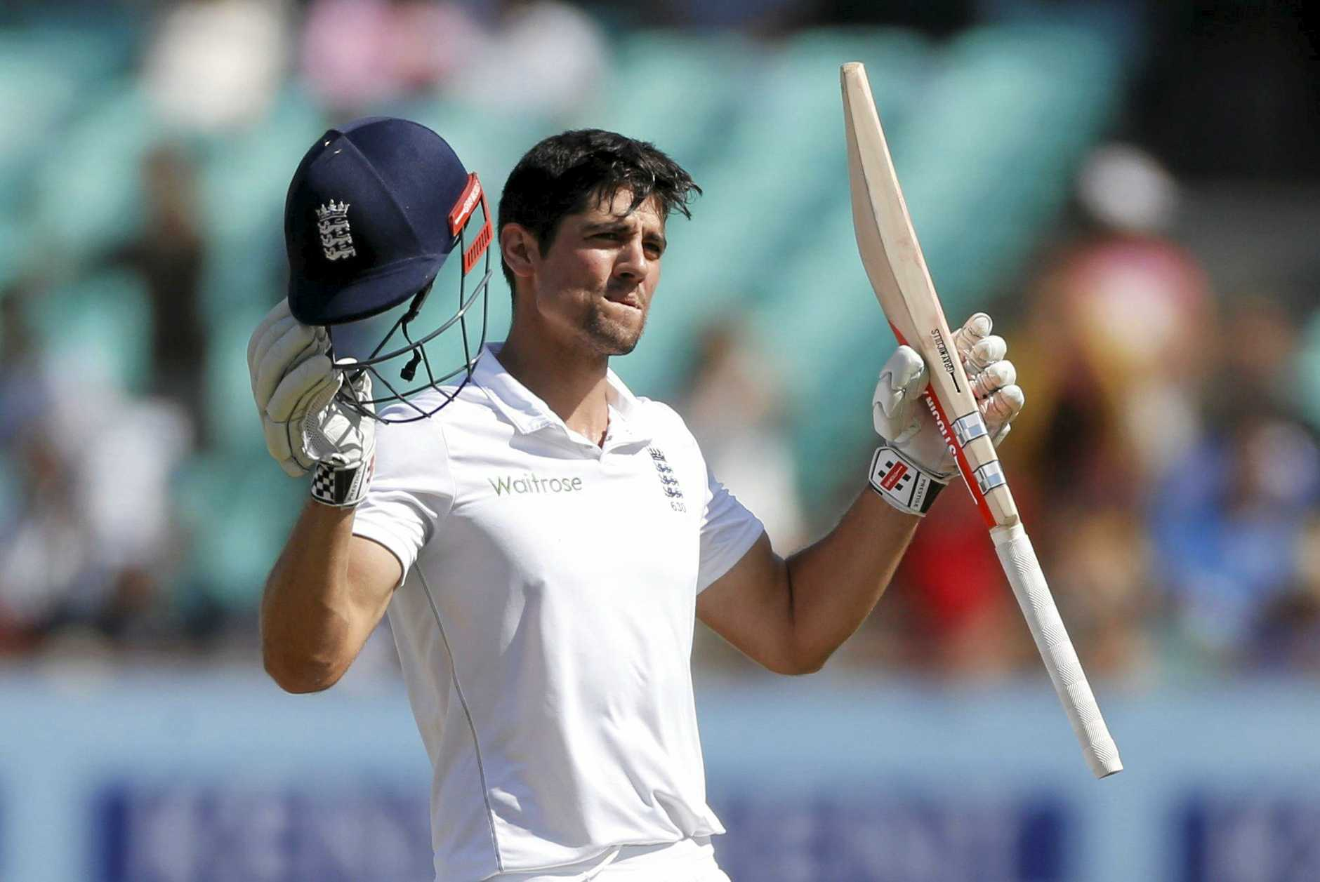 England cricket captain Alastair Cook gestures after scoring century in India in November.