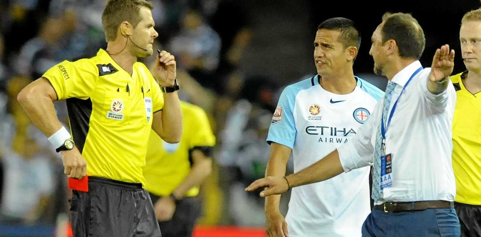 Tim Cahill of Melbourne City is given a red card before even being substituted on to the field during the round 18 A-League match against the Melbourne Victory at Etihad Stadium.