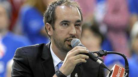 Umpire Arnaud Gabas, of France, declares the match forfeited after being hit in the eye by a ball fired by Canada's Denis Shapovalov