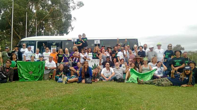 Legalise cannabis protesters outside Parliament House in Canberra.