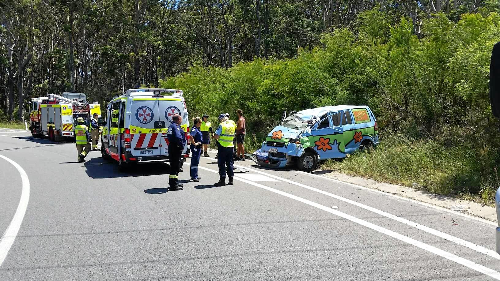 The driver, aged in his late teens, was taken to the Coffs Harbour Health Campus after sustaining a cut.