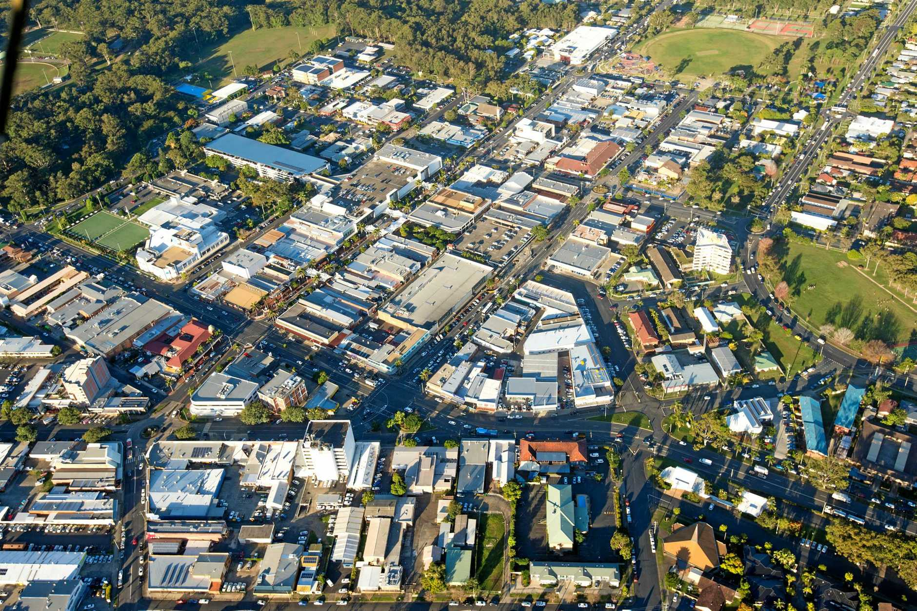 Coffs Harbour city centre aerial. 14 AUG 2015
