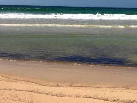 Masses of brown, sticky goo on Ilaroo Beach near Wooli have mystified a local fishermen.