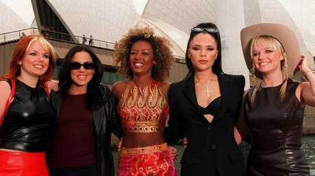 Ginger, Sporty, Scary, Posh and Baby Spice in front of the Sydney Opera House in 1997.
