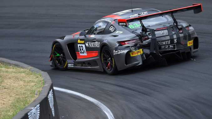 RUBBIN' IS RACING: The rear end of a Mercedes-AMG GT3 shows its battle scars