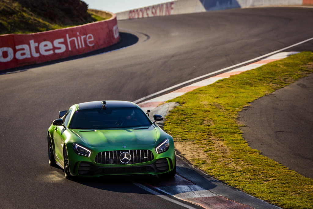 2017 Mercedes-AMG GT R breaks the production car lap record at Mount Panorama in Bathurst with Mercedes-AMG factory driver Bernd Schneider at the wheel