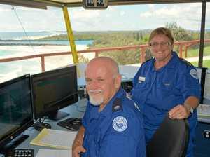 Point Danger Marine Rescue radio operator Gary Burch and unit commander Glenda Ashby keep an eye on coastal traffic.