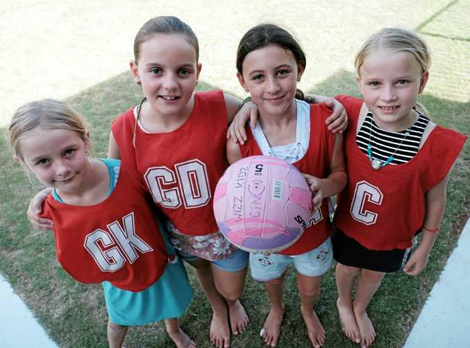 FUTURE NETBALLERS: Sophie Keating, Sophie Scutchings, Ella Waters and Breana Cookson are excited to take part in the new junior netball program in Chinchilla.