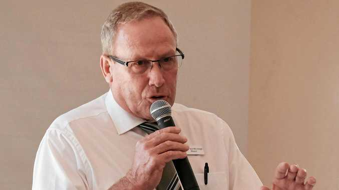 EXCITED: WDRC Mayor Paul McVeigh speaks at the CCCI Year Ahead business breakfast at the Chinchilla Palms Restaurant on Tuesday morning.