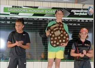 KA4 Junior Light winners, Ryan Phipps, Riley Beggs and Whitsunday Motor sport driver Lara Hadlow.