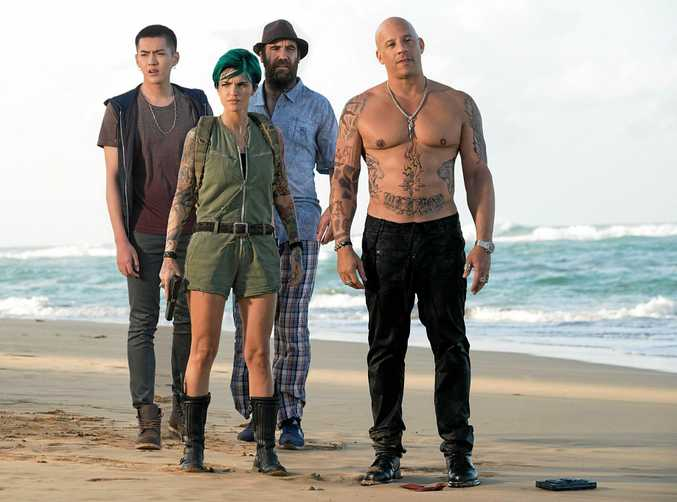 AT THE MOVIES: Kris Wu, Ruby Rose, Rory McCann, and Vin Diesel in a scene from the movie xXx: The Return of Xander Cage.