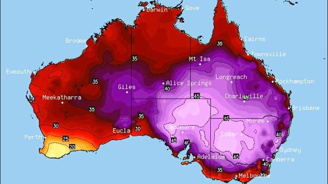 SCORCHER: The heat map shows the extreme inland temperatures that will make their way the coastlines over the next few days.