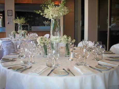 FINE DINING: A stunning wedding dinner setting at the Clarion Hotel, Mackay Marina.