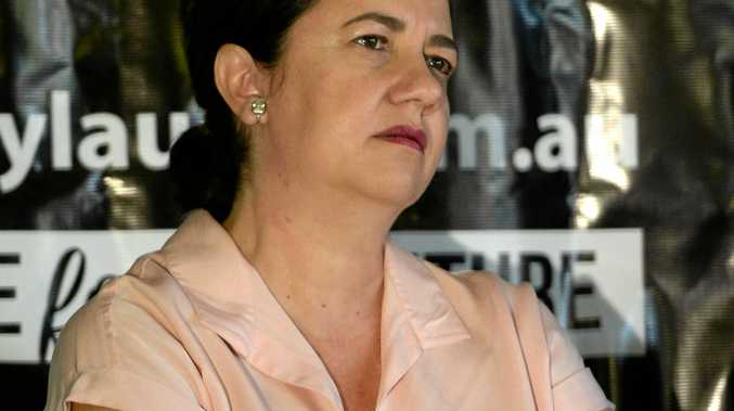 Queensland Premier, Annastacia Palaszczuk at the rally opposing the expansion of the Shoalwater Bay Training area at the Lakes Creek Hotel in Rockhampton.