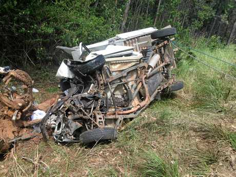 WRITE-OFF: A Lawrence man was injured when his Toyota Hilux left the Summerland Way and crashed into a tree.