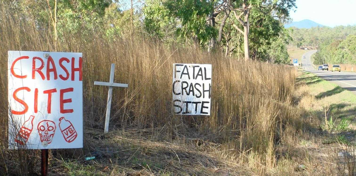 Susie Whitehead placed more than 200 signs along the Peak Downs Hwy to mark crash sites.