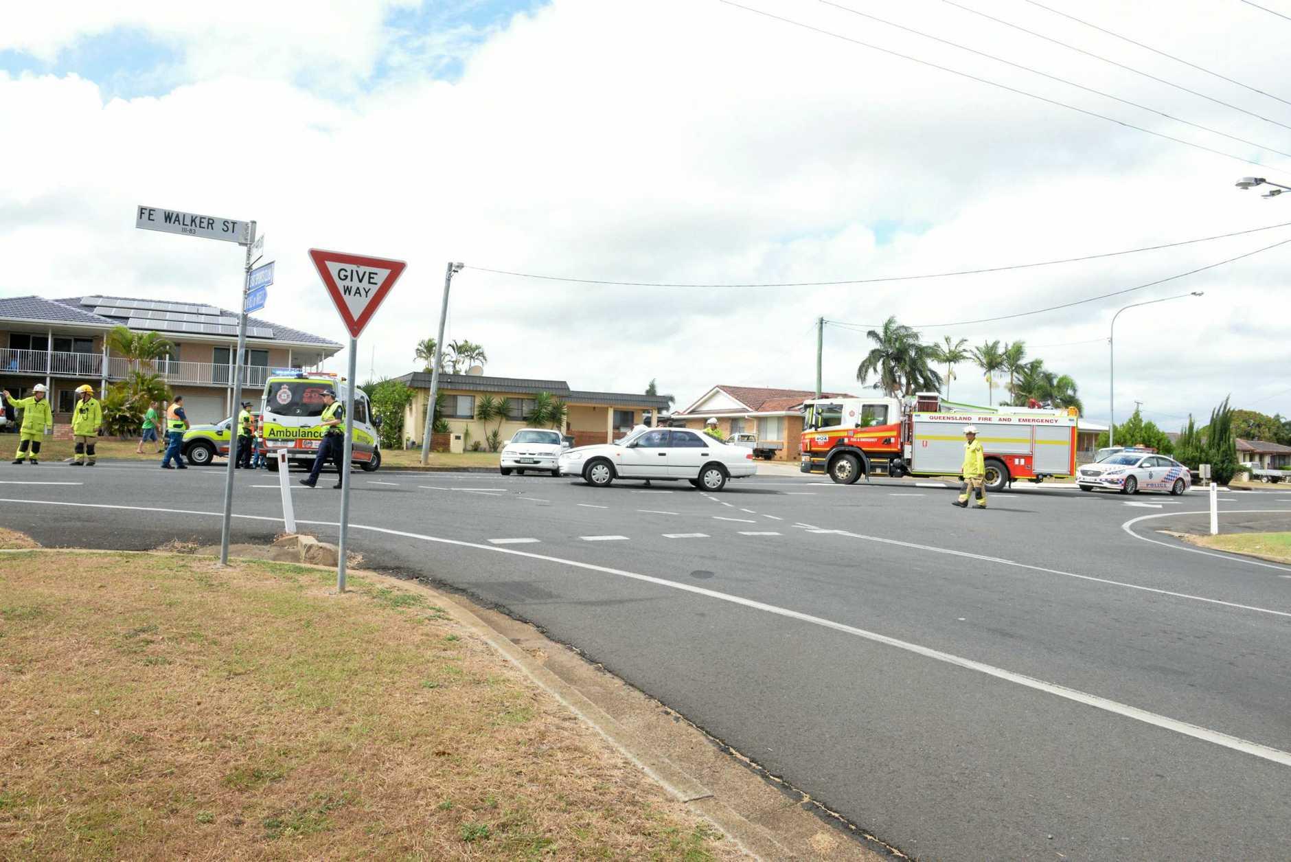 Emergency crews at the scene of a crash on FE Walker St.