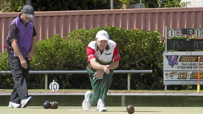 ON THE MAT: Jason Grundon bowls for North Toowoomba.
