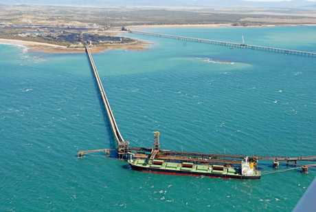 An aerial view of coal terminals and berths at Hay Point Coal Terminal and Dalrymple Bay Coal Terminal at Hay Point.