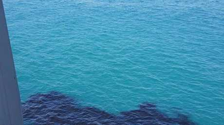 A contractor claims this photo shows coal in the water off Hay Point Coal Terminal.