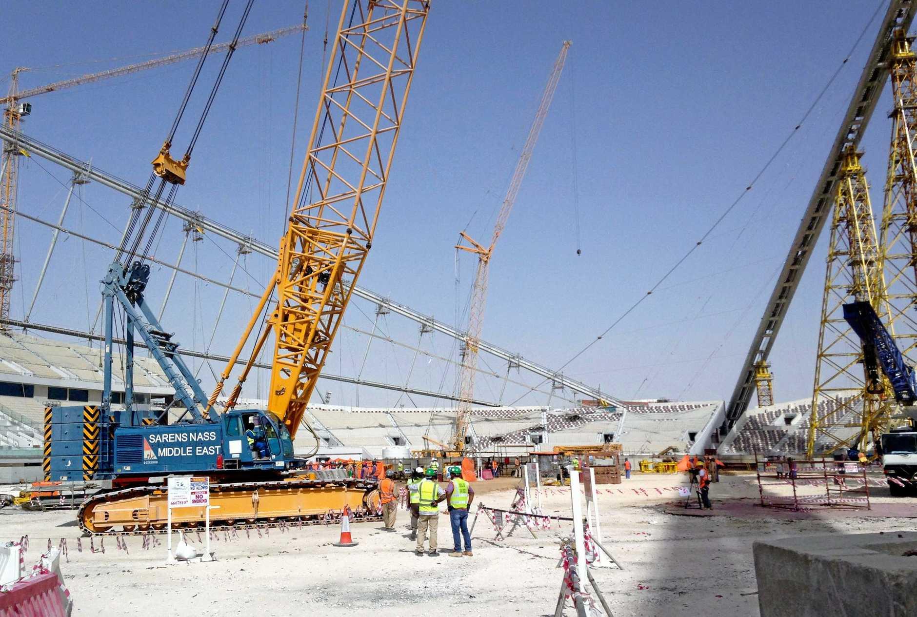 Construction work at the Khalifa Stadium in Doha, Qatar, in 2014.