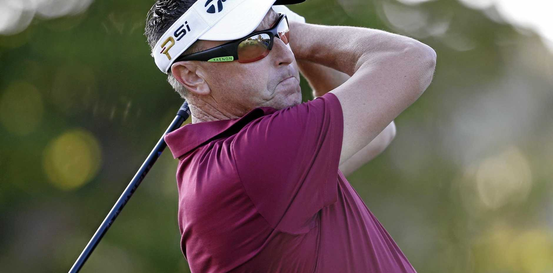 Australia's Robert Allenby hits off the first tee at the Sony Open in Honolulu last year.