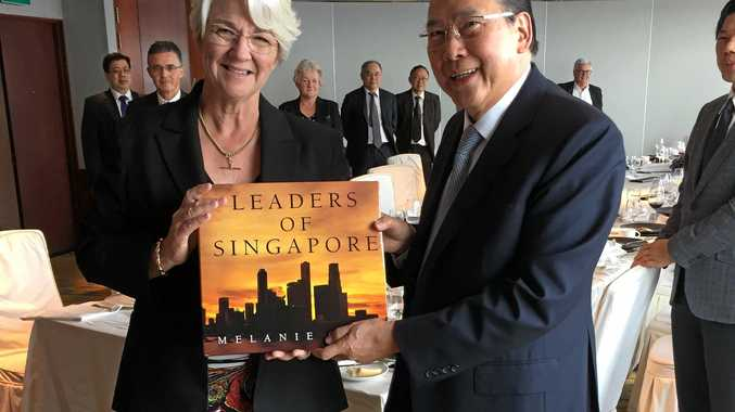 Rockhampton Region Mayor Margaret Strelow with Tony Chew Leong Chee, Executive Chairman of Asia Resource Corporation during a recent trade delegation to Singapore.