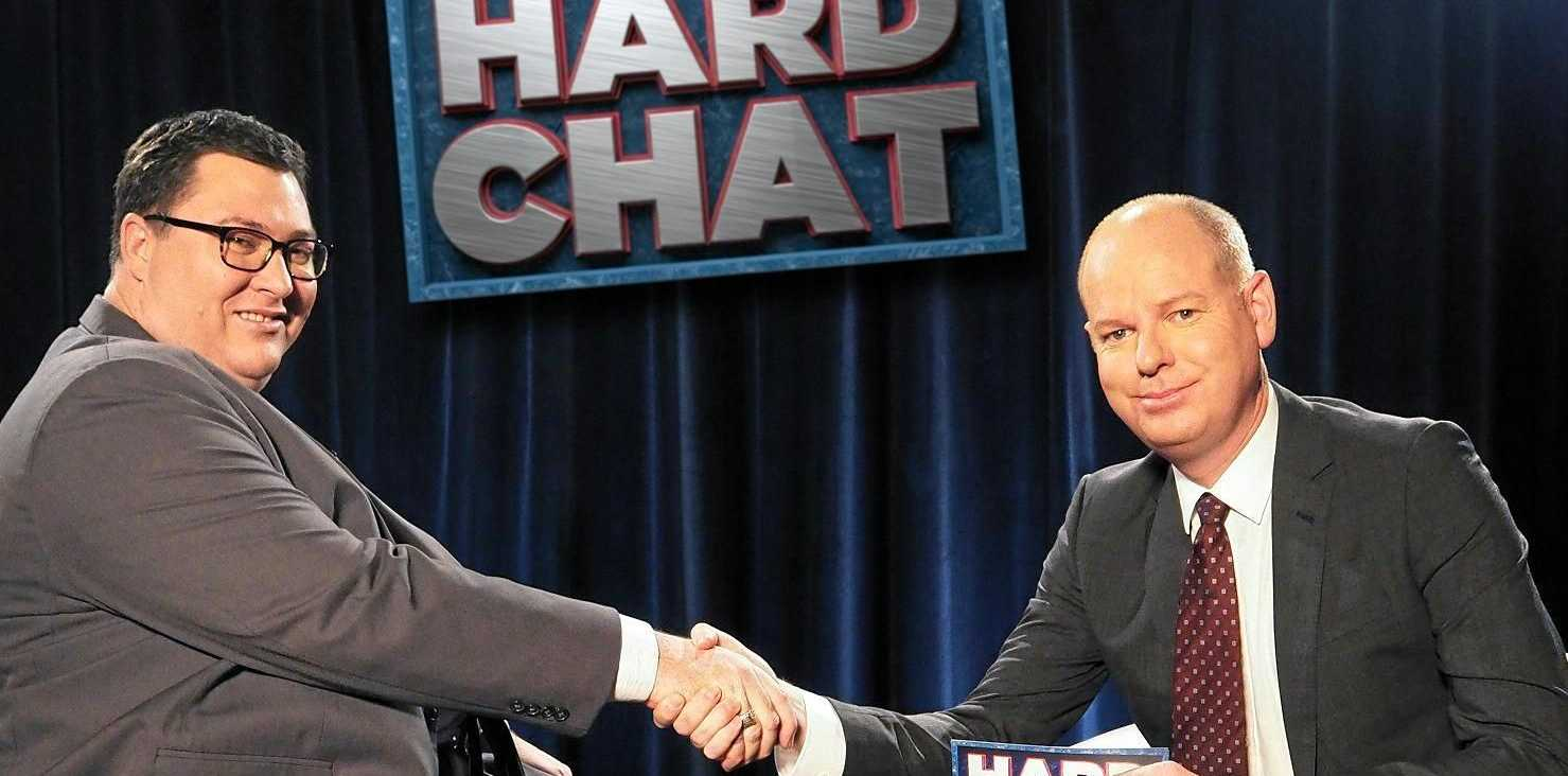 Federal MP for Dawson George Christensen appears on 'The Hard Chat' segment with Tom Gleeson on Wednesday night's episode of The Weekly with Charlie Pickering.