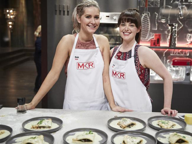 Bek and Ash looked happy with their entree of mushroom crepes with brie sauce.