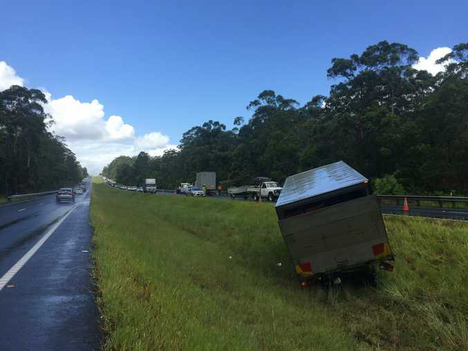 A two truck crash is causing delays on the Bruce Highway at Tanawha.