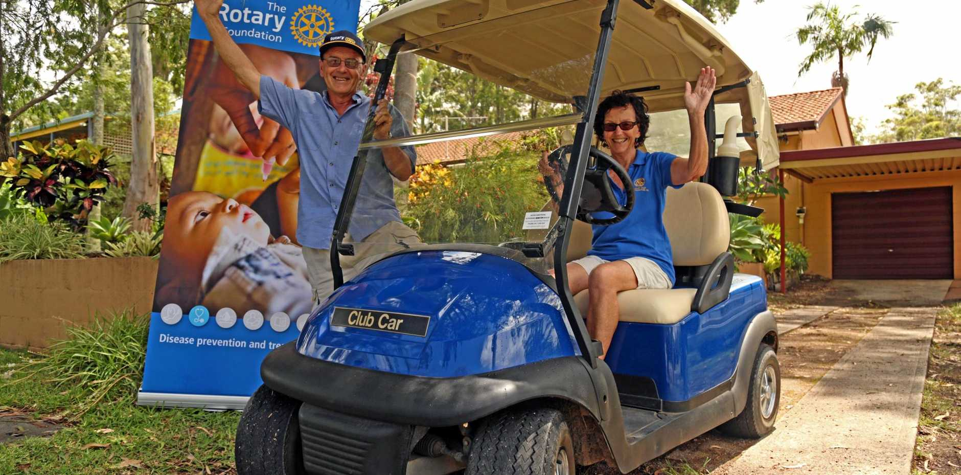 BEEP BEEP: Woolgoolga Rotary were given a golf buggy to help fundraise for a vehicle.