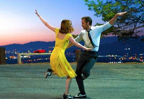 Emma Stone and Ryan Gosling in a scene from the Golden Globe winning movie La La Land.