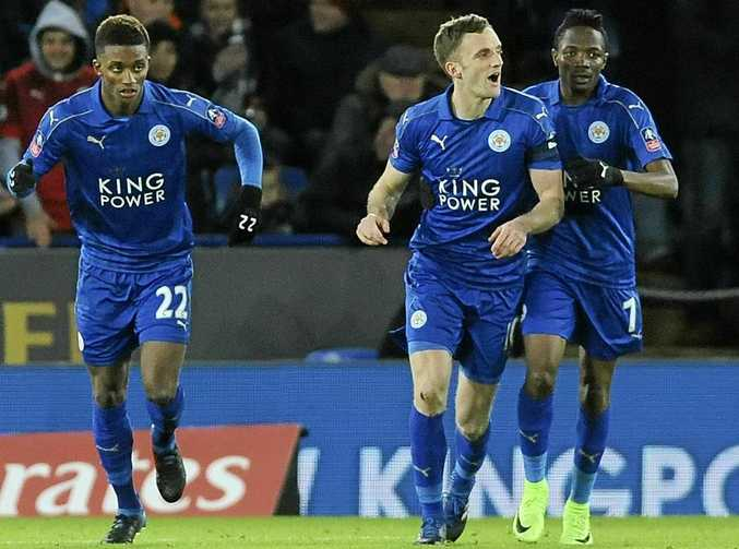 Leicester's Andy King, second right, celebrates scoring a goal in his side's FA Cup Fourth Round win over Derby.