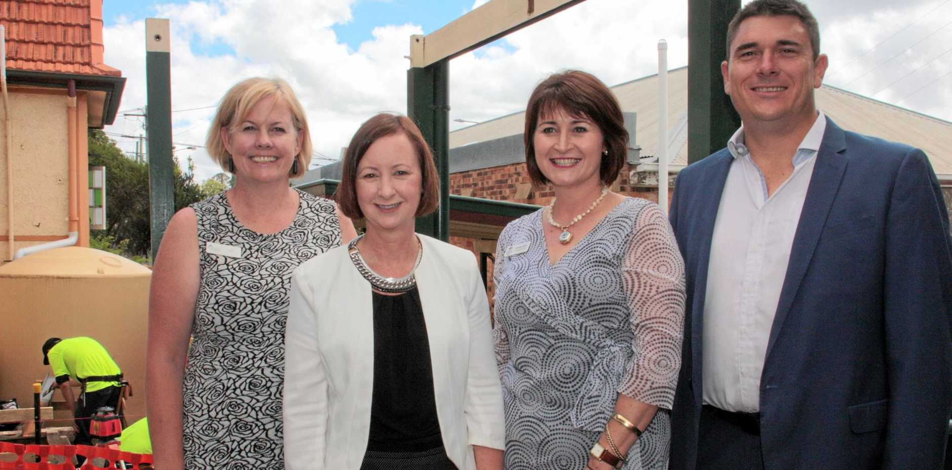 SKILLING WORKERS: Celebrating more funding for Toowoomba organisations are (from left) Toowoomba Clubhouse CEO Jo Sheppard, Minister for Training and Skills Yvette D'Ath, Sunrise Way CEO Wendy Agar and Downs Group Training CEO Darren McDonell.