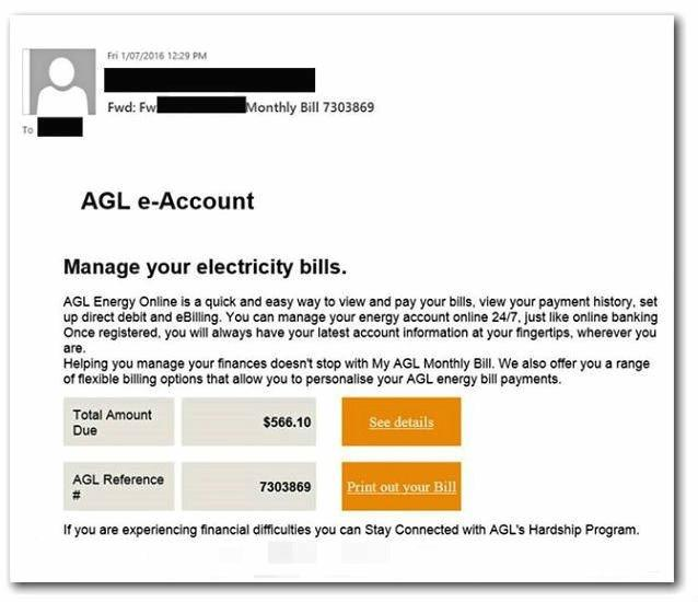 An example of a fake AGL email.