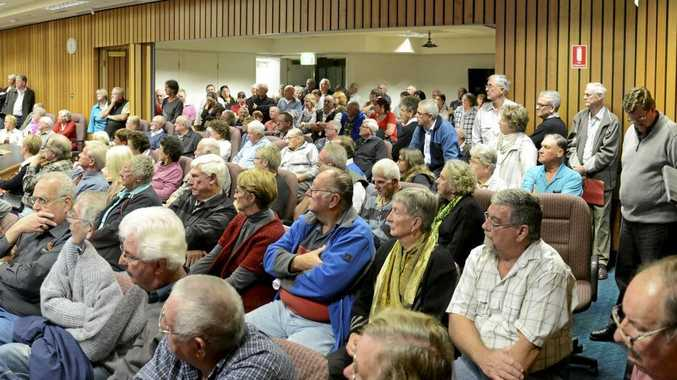 A panorama of the large crowd that filled the council chambers in Maclean for a meeting about proposed rate changes.Photo Adam Hourigan / The Daily Examiner