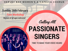 Seabelle Singers is hosting a free singing workshop for women interested in experiencing our a`capella style of singing. No prior singing experience necessary