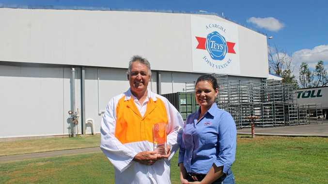 PROUD RECORD: Teys Biloela general manager Duncan Downie (left) and livestock buyer Laura Grubb.
