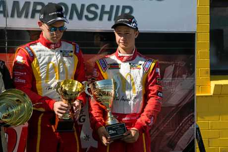 TROPHY TIME: Toowoomba driver Cameron Shields (right) during the Australian Formula 3 Championship.