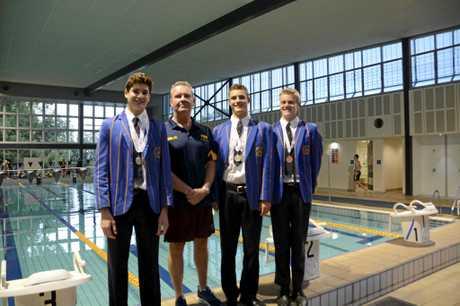 FINALIST DUO: November monthly winner Joshua Smith, Richard McLean, Simon Geldenhuys and August monthly winner Fraser Stewart of Toowoomba Grammar Swimming Club.