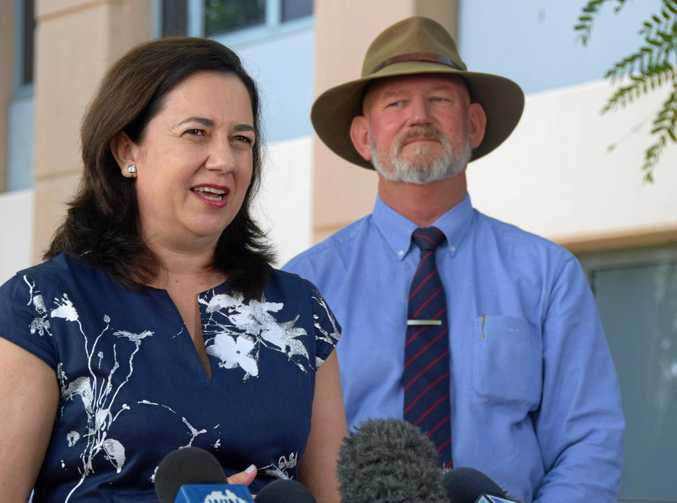 Annastacia Palaszczuk speaks to media in Rockhampton.