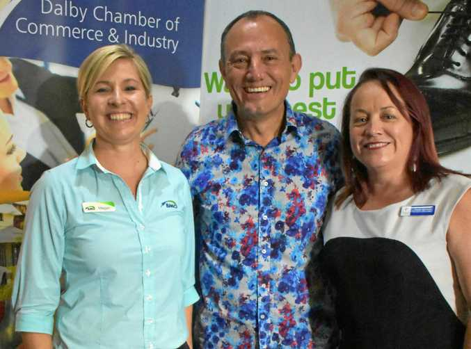 MOTIVATIONAL BREAKFAST: Megan James, from BMO, with guest speaker Bruce Sullivan and Trudi Bartlett, from Dalby Chamber.