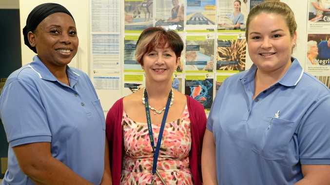 L-R Lola Olaniyan, Sandy Munro (Exec Director Nursing Rockhampton Hospital), and Kara Davies.   Lola and Kara are undertaking their orientation week at Rockhampton Hospital as part of thier graduate Nursing program.