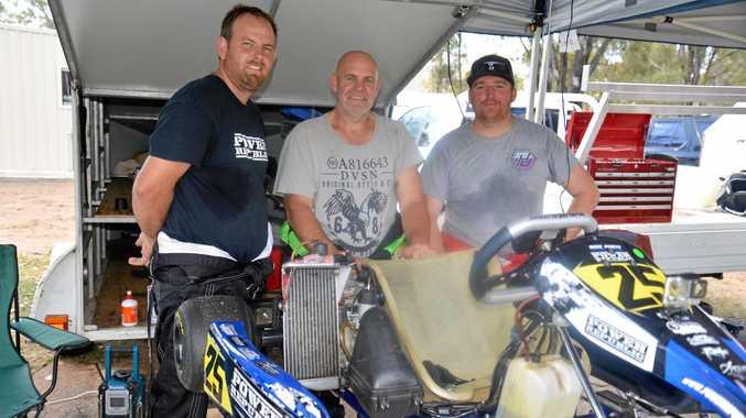 Nick White, Shane Scotney and Adam Nesbitt at Sandy Creek Raceway.