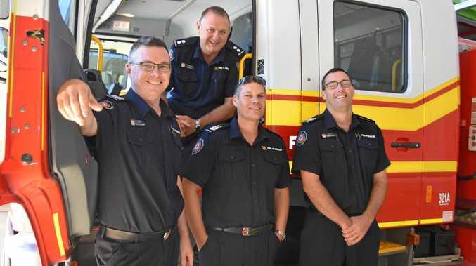LOCAL HEROES: Firefighting crew Anthony Brennan, Dennis Burton, Brett Farrell and Matthew Groves.