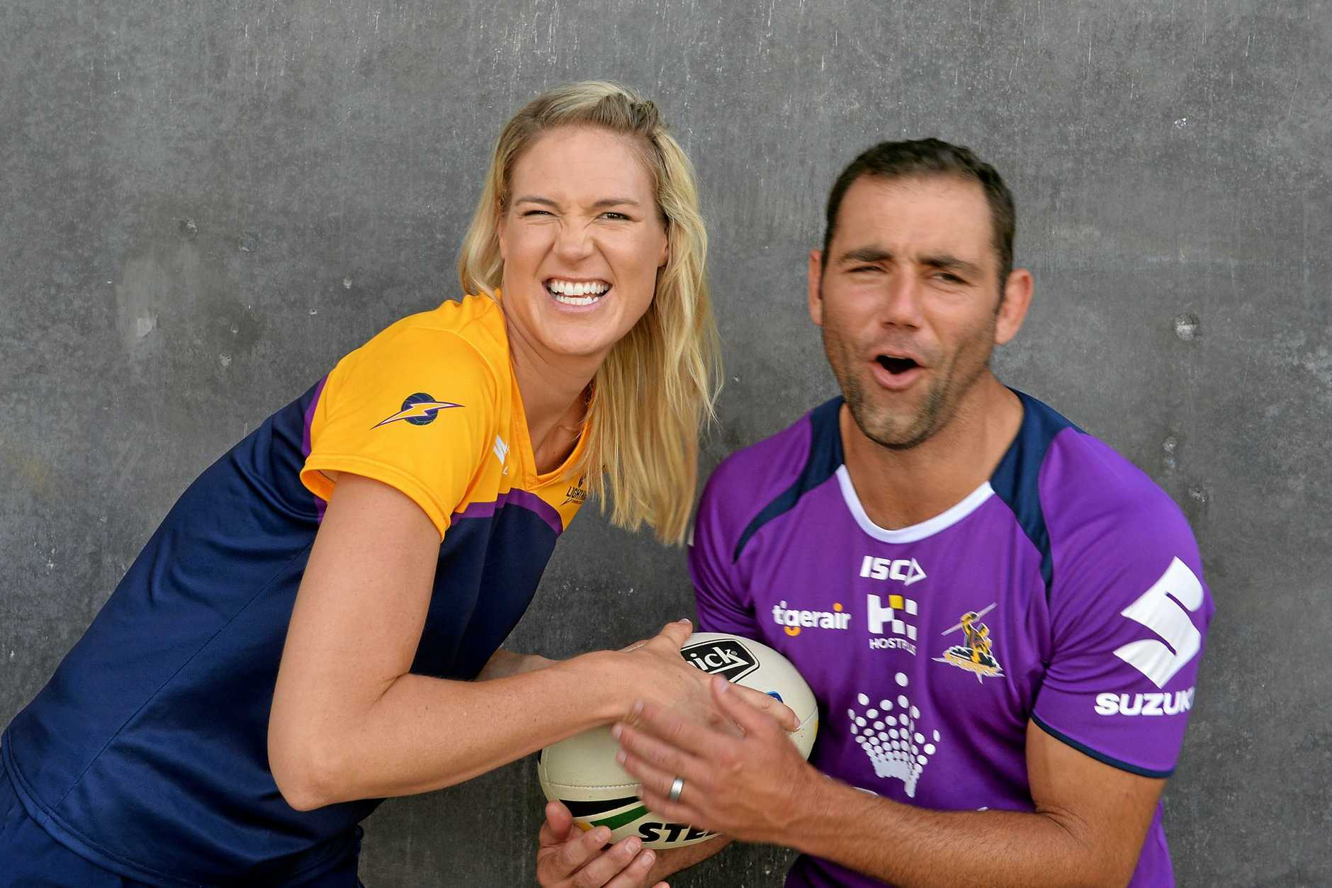 Storm opening training session at Sunshine Coast Stadium and press conference with Sunshine Caost Lightning Netball. Caitlin Bassett and Cameron Smith.