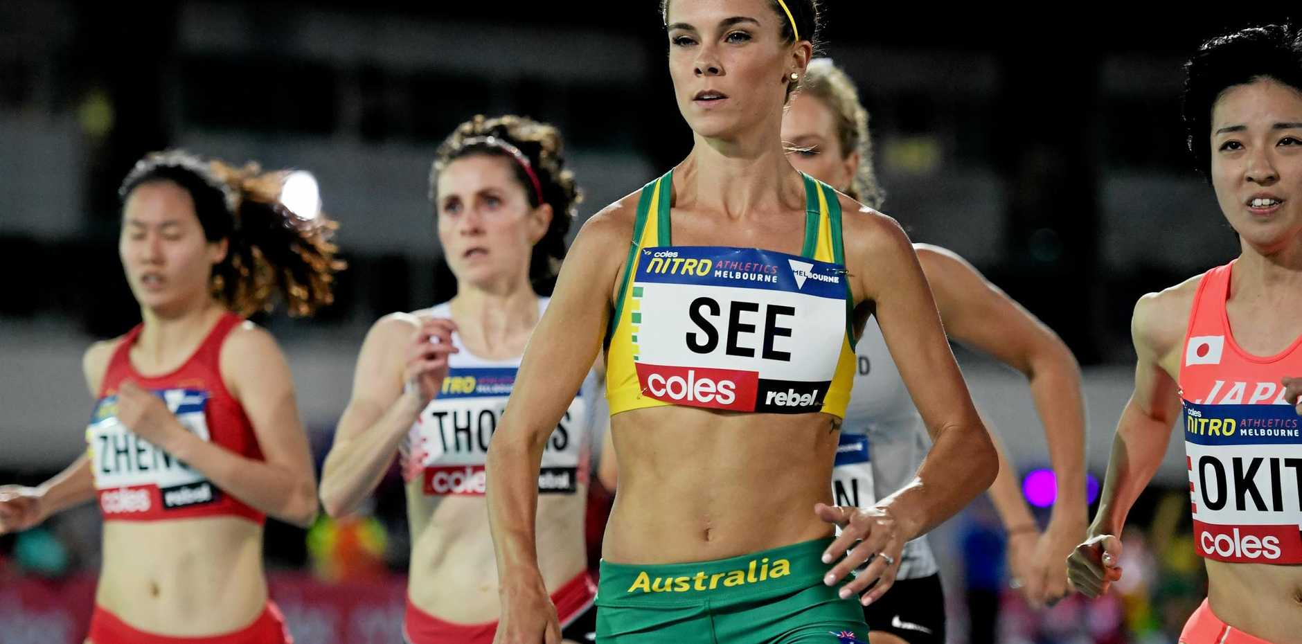 Australian athlete Heidi See in the women's one-mile run at the Nitro Athletics meet at Lakeside Stadium in Melbourne.